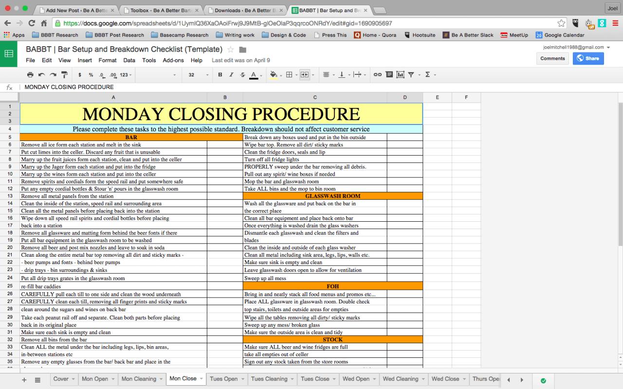Breakdown Checklist